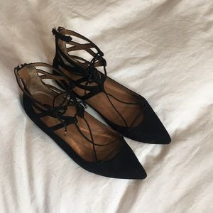 Aquazzura Belgravia Suede Lace-up Flats